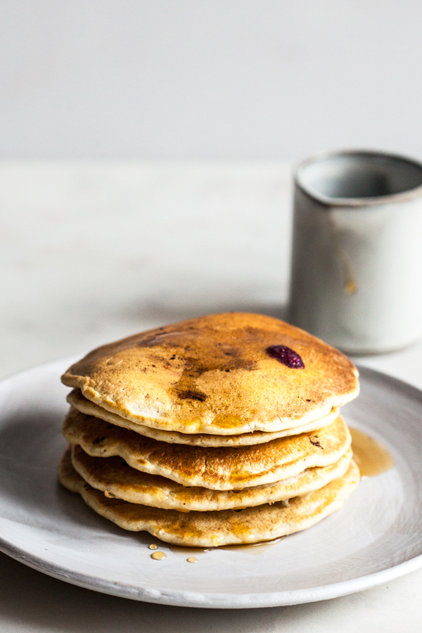 Easy Vegan Whole Wheat Blueberry Pancakes | The Full Helping