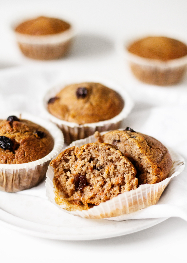Vegan Carrot Raisin Bran Muffins | The Full Helping