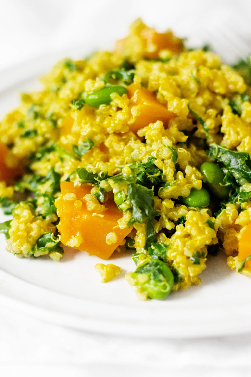 A zoomed in image of quinoa, squash, and greens, folded together with a golden colored, creamy sauce.