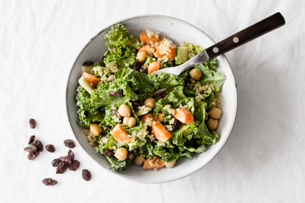Carrot Raisin Kale Salad with Creamy Curry Dressing   The Full Helping