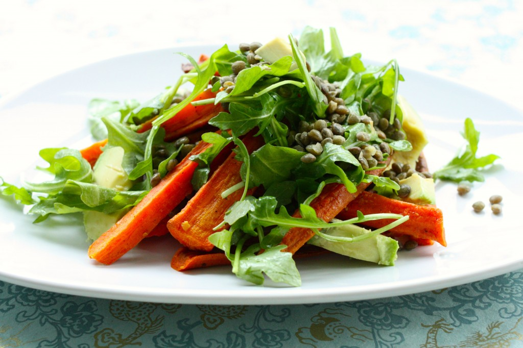 roasted carrot and avocado salad side