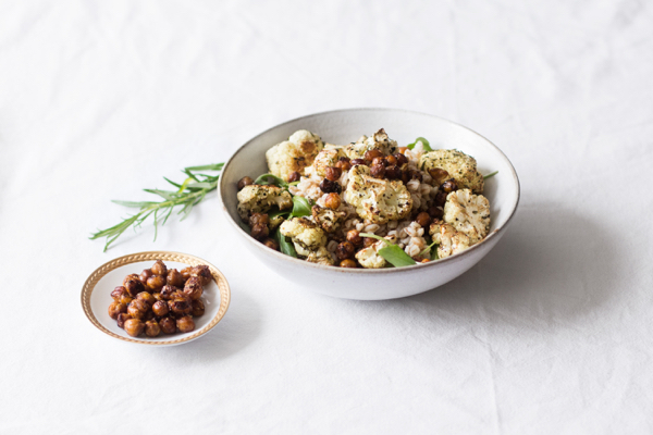 Farro Salad with Balsamic Roasted Cauliflower & Toasted Chickpeas | The Full Helping