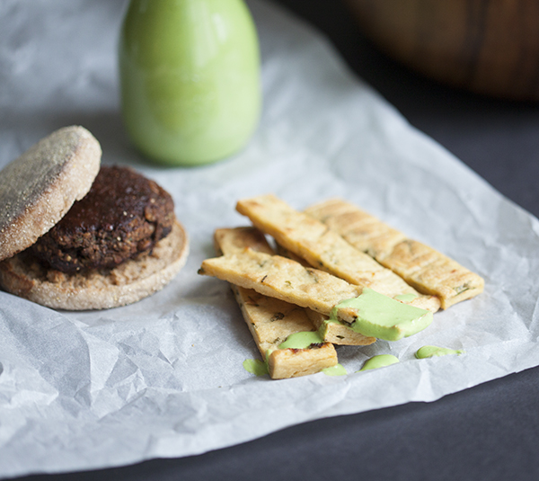 Lentil Tamarind Barbecue Burgers with Chickpea Fries