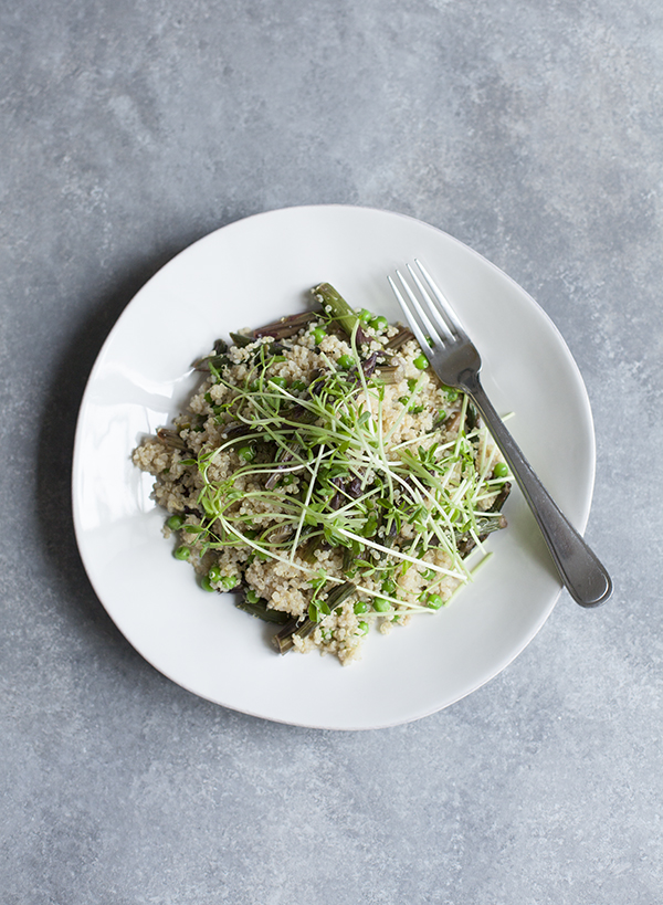 Purple Asparagus and Quinoa Salad with Peas and Pea Shoots