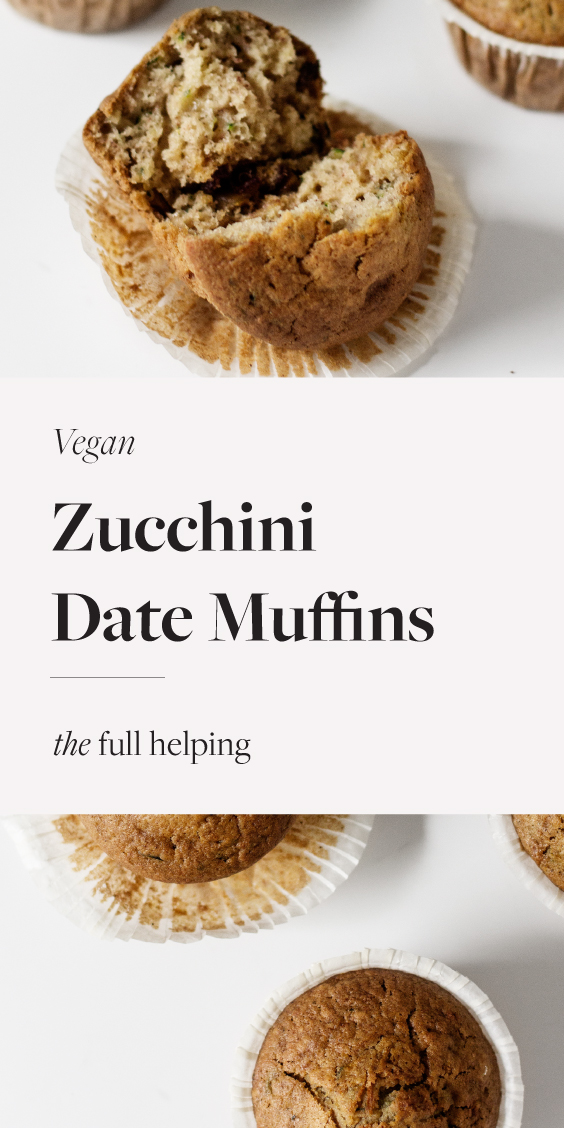 Use up all of your summer zucchini with these mildly sweetened, #vegan zucchini date muffins! They're delicious and an easy way to encourage kids to eat their vegetables. Freezer friendly and with a #glutenfree option. #veganbaking #plantbased