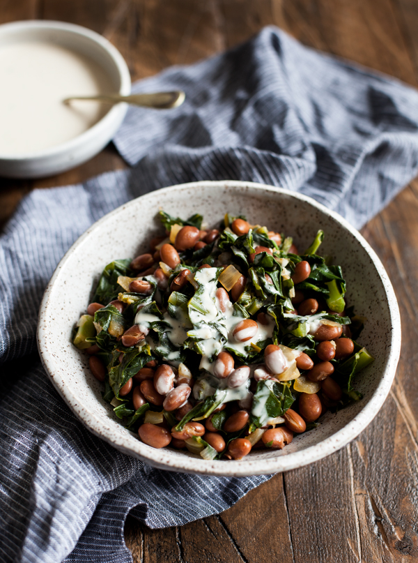 Simple Stewed Pinto Beans and Collard Greens | The Full Helping