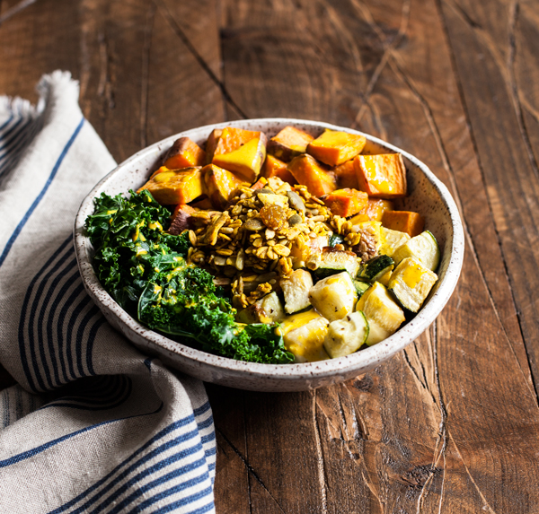 Sweet Potato Breakfast Bowls with Savory Granola | The Full Helping