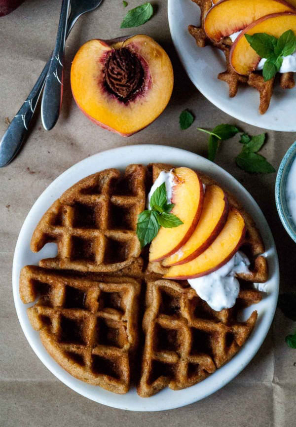 Vegan-Gluten-Free-Peach-Waffles-with-Mint-Coconut-Whipped-Cream-9