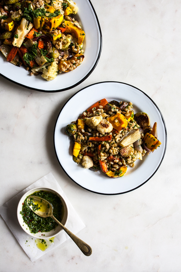 Farro & Roasted Vegetables with Italian Salsa Verde | The Full Helping
