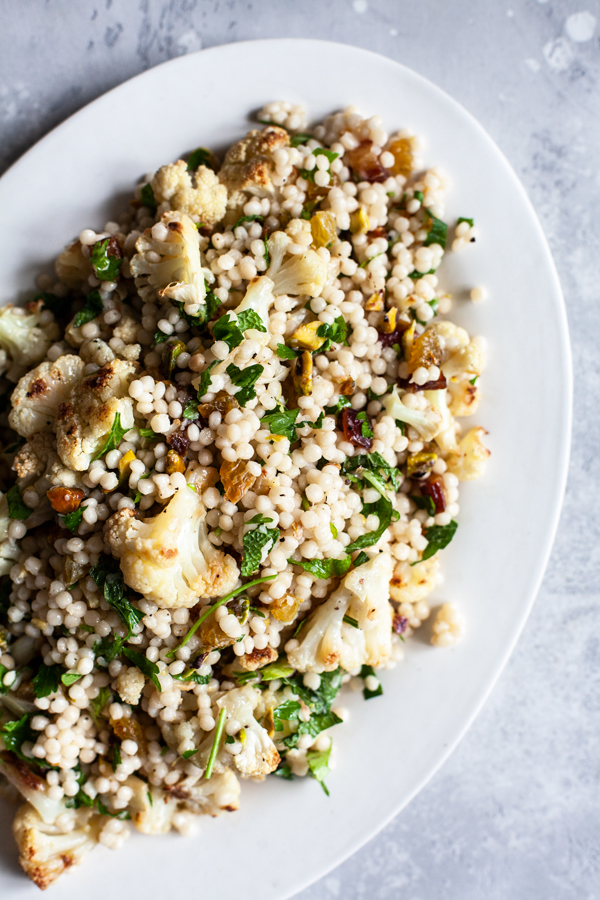 Israeli Couscous Salad with Roasted Cauliflower, Pistachios & Dates | The Full Helping