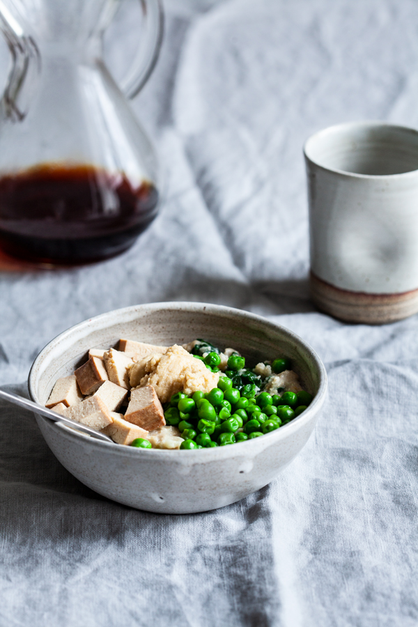Savory Spring Oats with Tofu, Spinach & Peas | The Full Helping