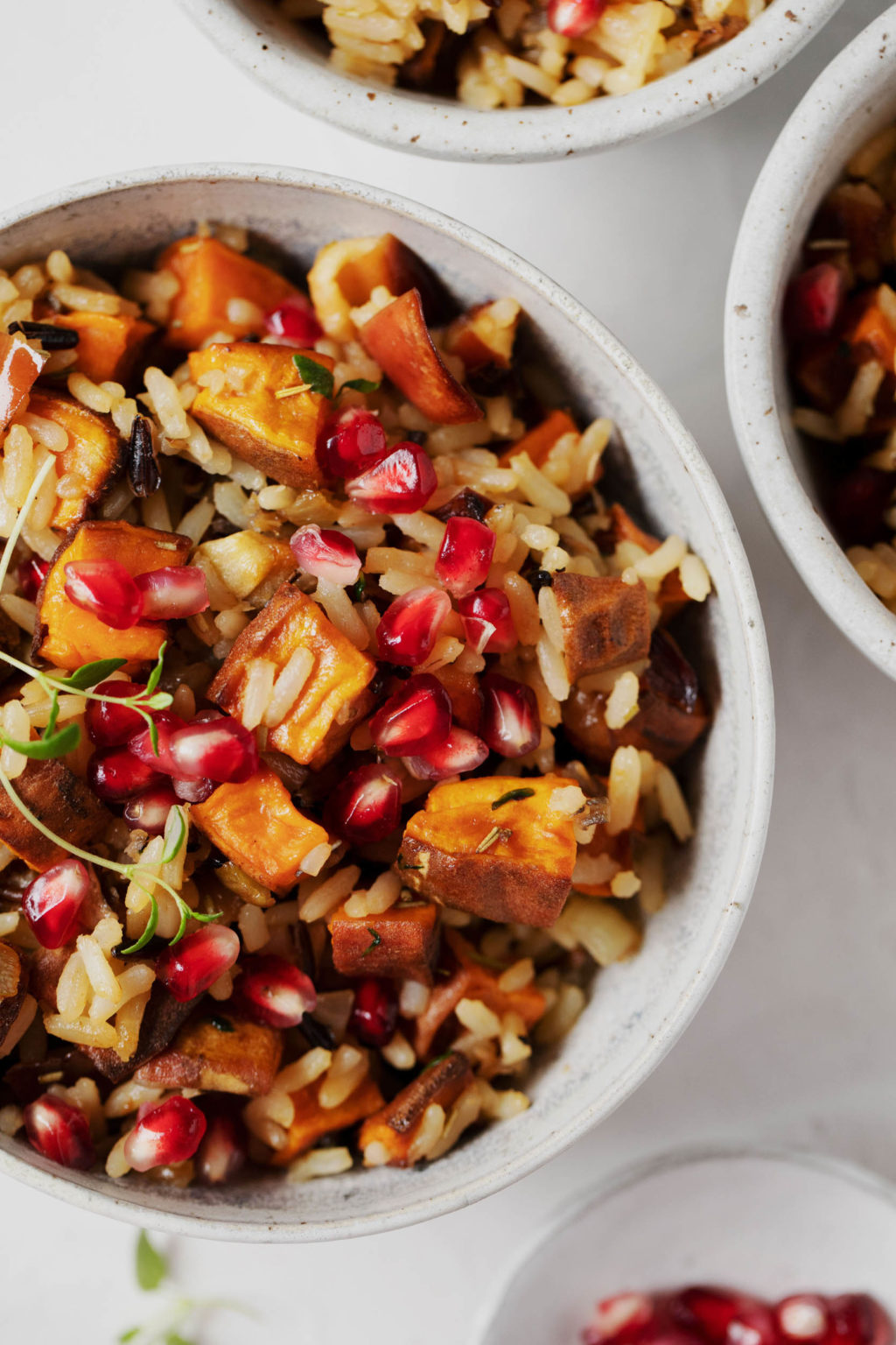 A close up, overhead image of a colorful bowl of wild rice, pomegranate seeds, roasted sweet potatoes, and apples.