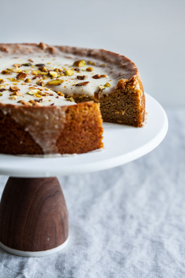 Grain Free Vegan Pistachio Coconut Lemon Cake
