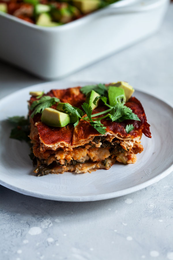 Vegan Chick'n Enchilada Breakfast Casserole | The Full Helping