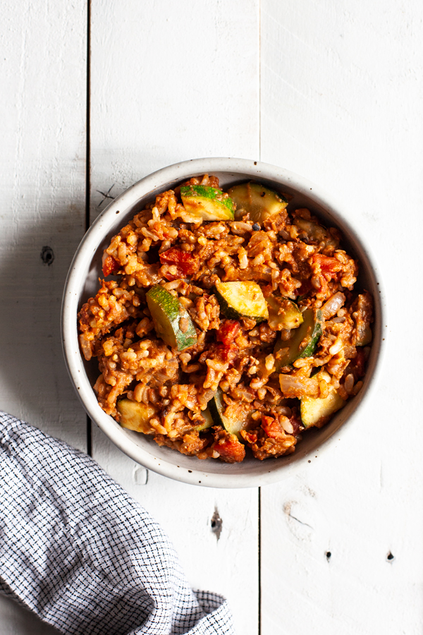 One Skillet Spiced Lentil Walnut Rice | The Full Helping
