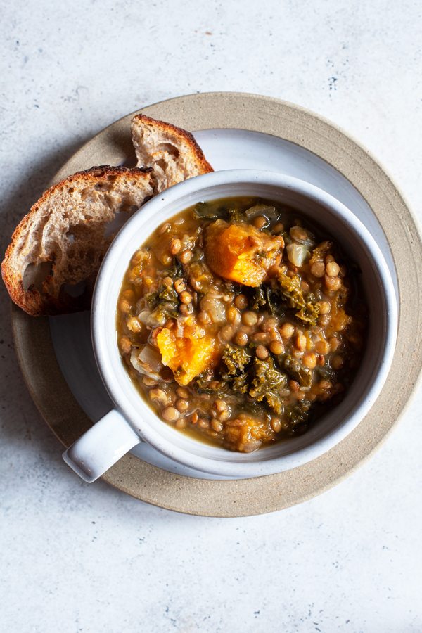 Butternut Squash, Kale & Lentil Soup with Herbs | The Full Helping