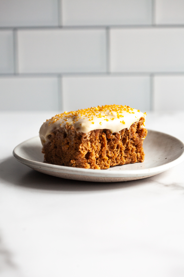 Cinnamon Spice Sheet Cake with Cream Cheese Frosting | The Full Helping