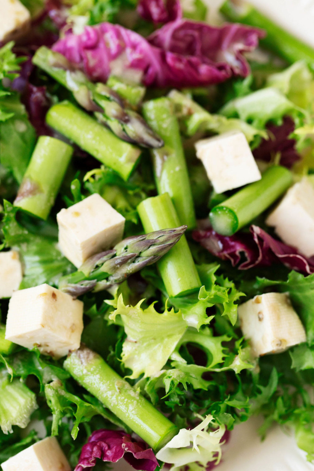 A zoomed in, overhead shot of a springtime salad that's been piled with herbed tofu feta cheese.